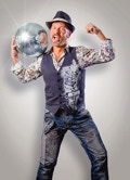 A picture of Disco Vinnie holding a disco ball